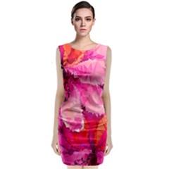 Geometric Magenta Garden Classic Sleeveless Midi Dress by DanaeStudio