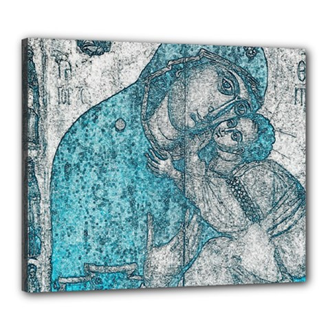 Mother Mary And Infant Jesus Christ  Blue Portrait Old Vintage Drawing Canvas 24  X 20  by yoursparklingshop