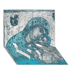 Mother Mary And Infant Jesus Christ  Blue Portrait Old Vintage Drawing Love Bottom 3d Greeting Card (7x5) by yoursparklingshop