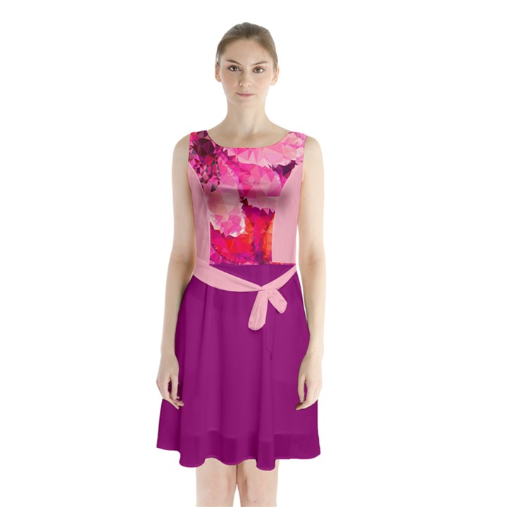 Geometric Magenta Garden Sleeveless Chiffon Waist Tie Dress