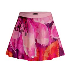 Geometric Magenta Garden Mini Flare Skirt by DanaeStudio