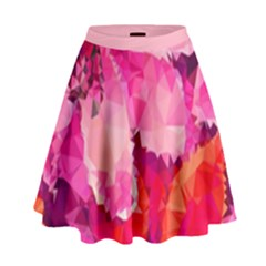 Geometric Magenta Garden High Waist Skirt