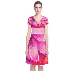 Geometric Magenta Garden Short Sleeve Front Wrap Dress