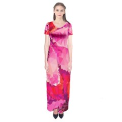 Geometric Magenta Garden Short Sleeve Maxi Dress
