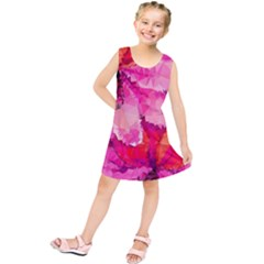 Geometric Magenta Garden Kids  Tunic Dress
