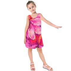 Geometric Magenta Garden Kids  Sleeveless Dress