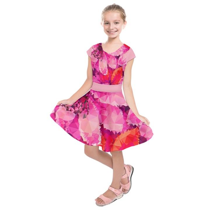 Geometric Magenta Garden Kids  Short Sleeve Dress