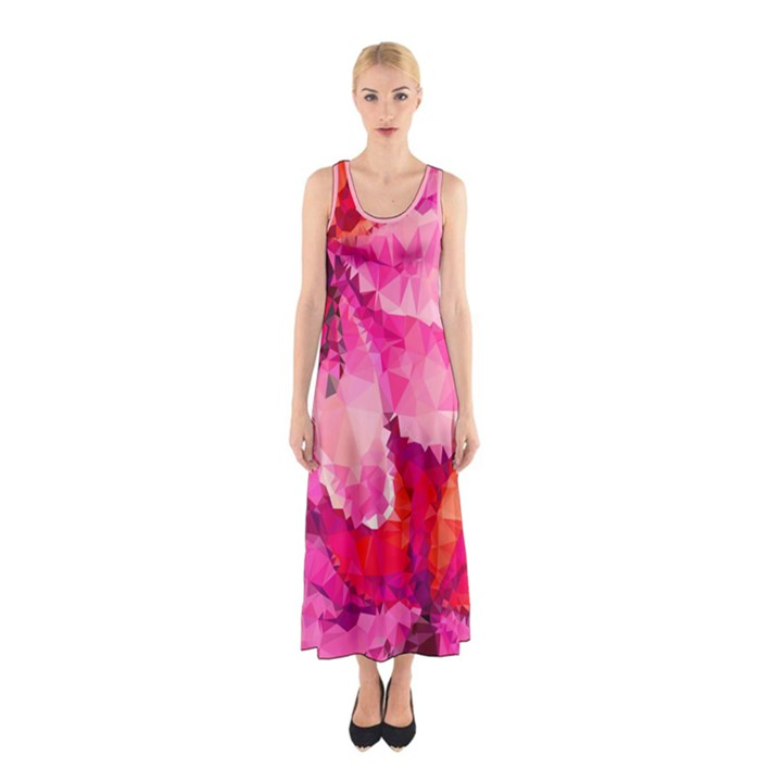 Geometric Magenta Garden Sleeveless Maxi Dress