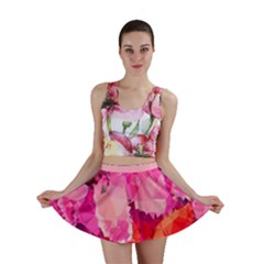 Geometric Magenta Garden Mini Skirt by DanaeStudio