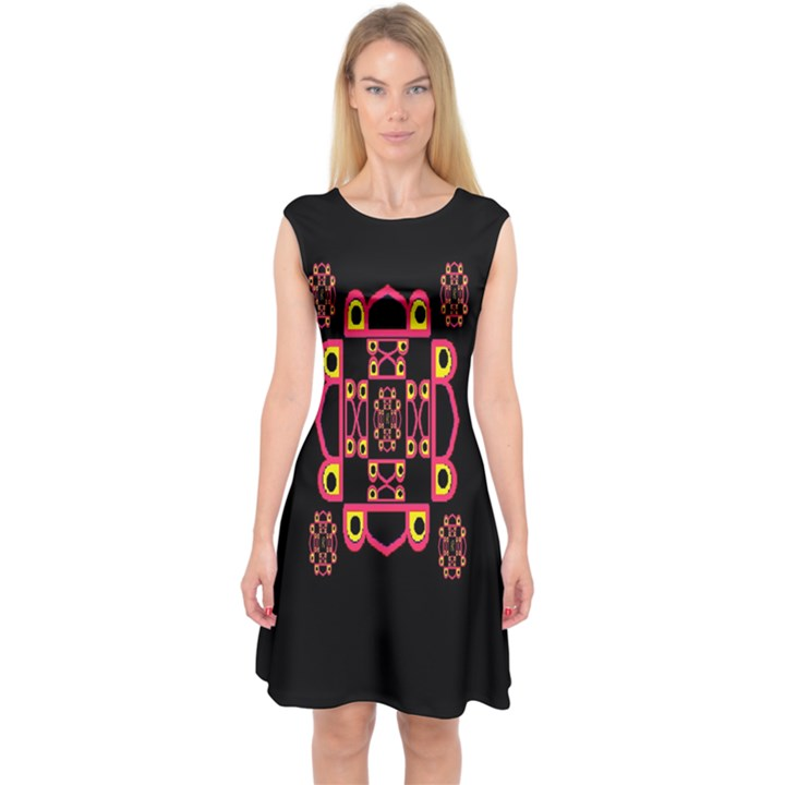 LETTER R Capsleeve Midi Dress