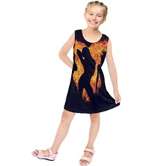 Heart Love Flame Girl Sexy Pose Kids  Tunic Dress by Zeze