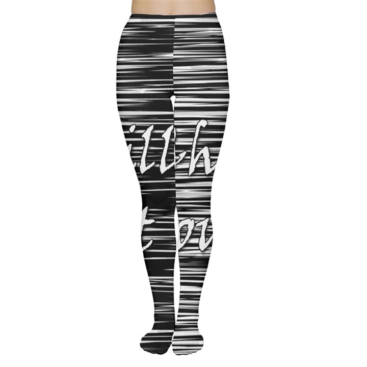 Black an white  Chill out  Women s Tights