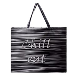 Black An White  chill Out  Zipper Large Tote Bag by Valentinaart
