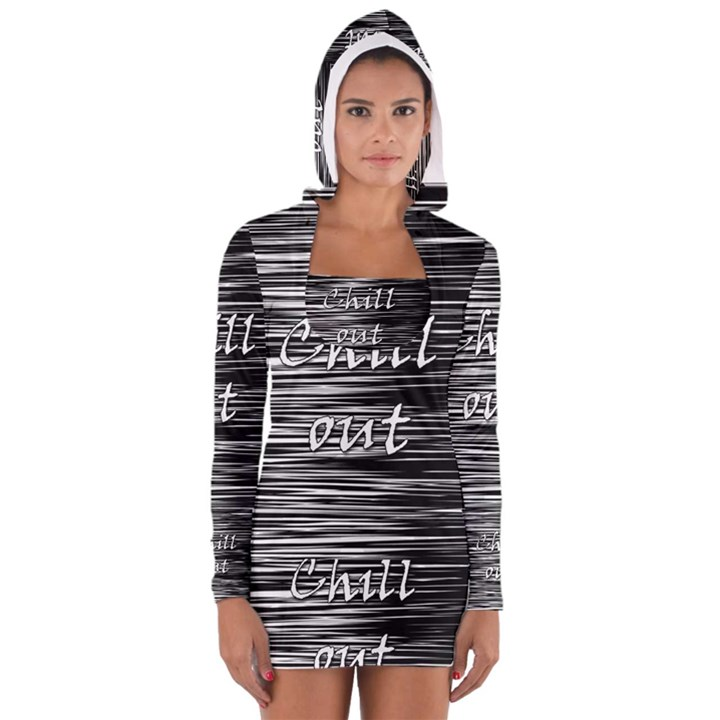 Black an white  Chill out  Women s Long Sleeve Hooded T-shirt