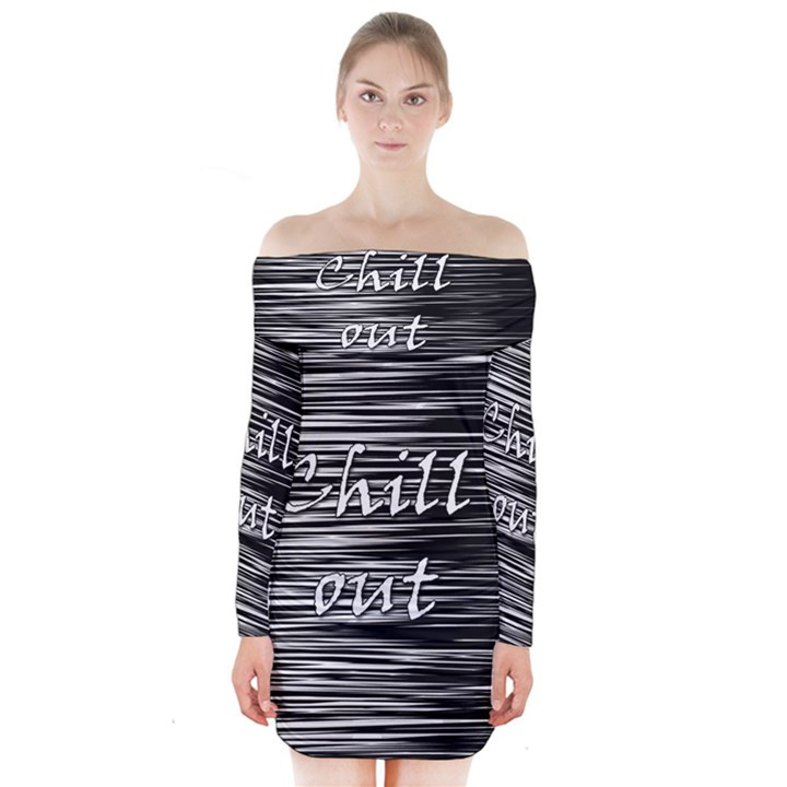 Black an white  Chill out  Long Sleeve Off Shoulder Dress