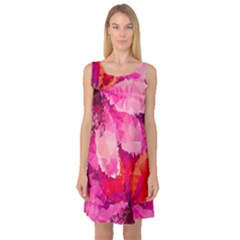 Geometric Magenta Garden Sleeveless Satin Nightdress