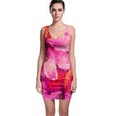 Geometric Magenta Garden Bodycon Dress