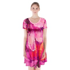 Geometric Magenta Garden Short Sleeve V Neck Flare Dress by DanaeStudio