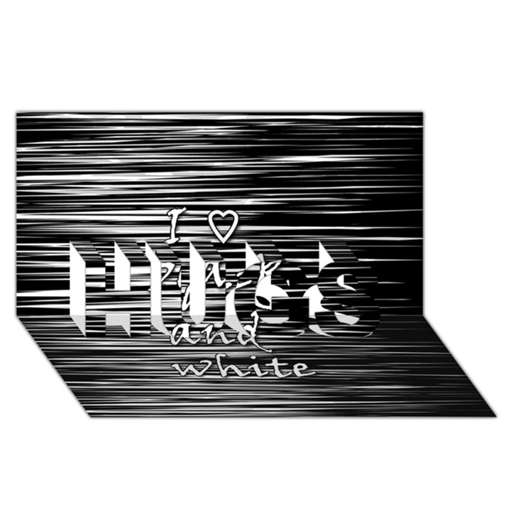 I love black and white HUGS 3D Greeting Card (8x4)