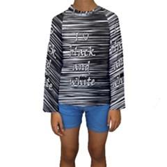 I Love Black And White Kids  Long Sleeve Swimwear