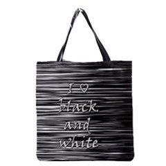 I Love Black And White Grocery Tote Bag