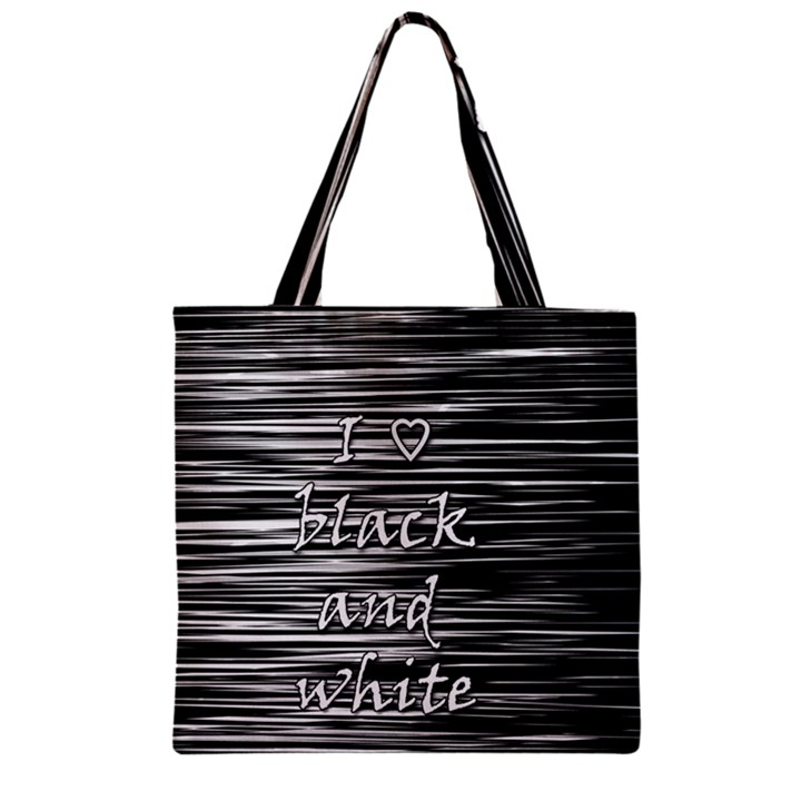 I love black and white Zipper Grocery Tote Bag