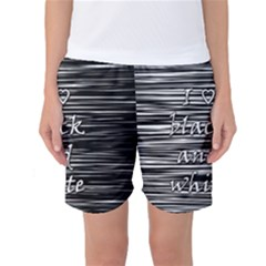 I Love Black And White Women s Basketball Shorts
