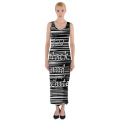 I Love Black And White Fitted Maxi Dress