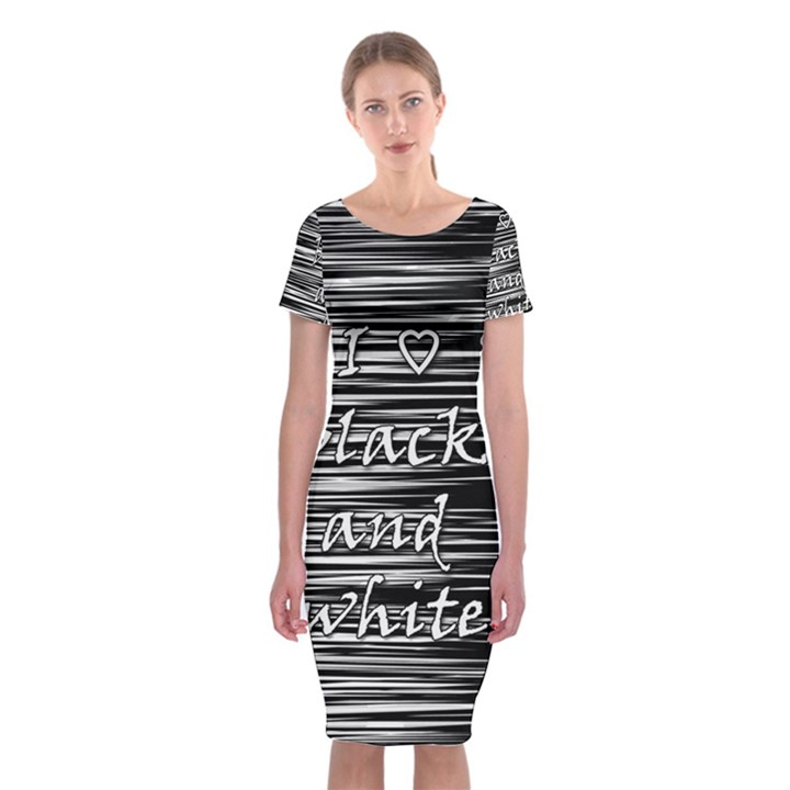 I love black and white Classic Short Sleeve Midi Dress