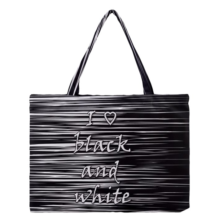 I love black and white Medium Tote Bag