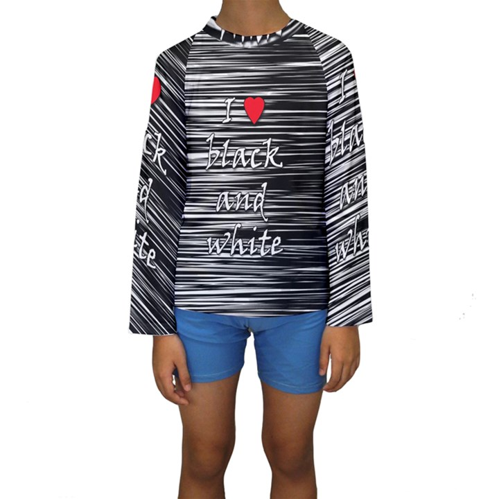 I love black and white 2 Kids  Long Sleeve Swimwear