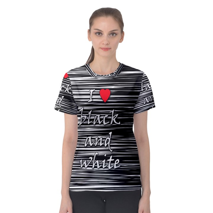 I love black and white 2 Women s Sport Mesh Tee