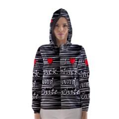 I love black and white 2 Hooded Wind Breaker (Women)