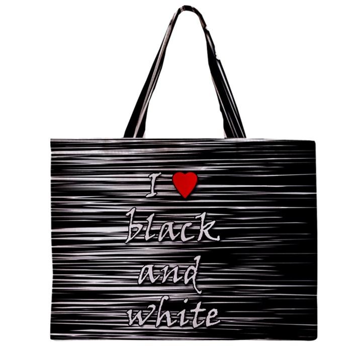 I love black and white 2 Zipper Mini Tote Bag