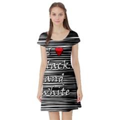 I love black and white 2 Short Sleeve Skater Dress