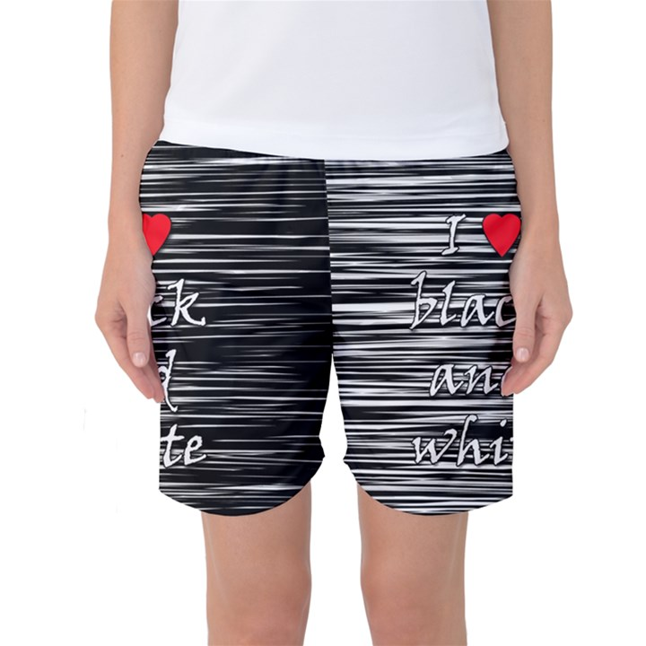 I love black and white 2 Women s Basketball Shorts