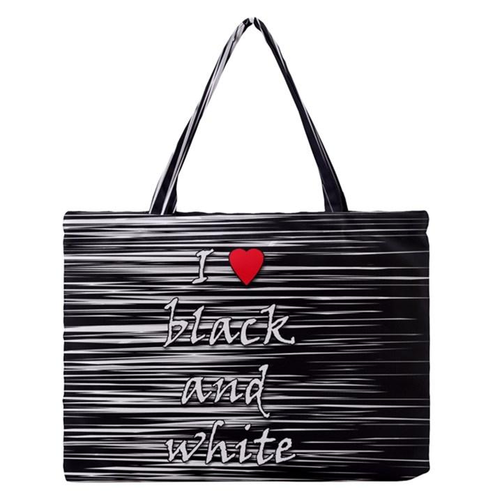 I love black and white 2 Medium Zipper Tote Bag