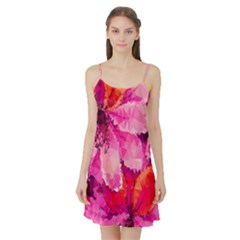 Geometric Magenta Garden Satin Night Slip