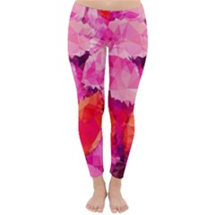 Geometric Magenta Garden Winter Leggings  by DanaeStudio