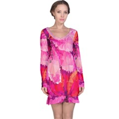 Geometric Magenta Garden Long Sleeve Nightdress by DanaeStudio