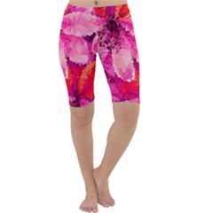 Geometric Magenta Garden Cropped Leggings