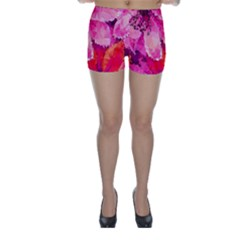 Geometric Magenta Garden Skinny Shorts