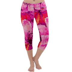 Geometric Magenta Garden Capri Yoga Leggings by DanaeStudio