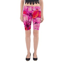 Geometric Magenta Garden Yoga Cropped Leggings
