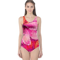 Geometric Magenta Garden One Piece Swimsuit