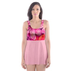 Geometric Magenta Garden Skater Dress Swimsuit
