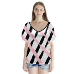 Pink And Black Sketch Checkers V Neck Flutter Sleeve Top