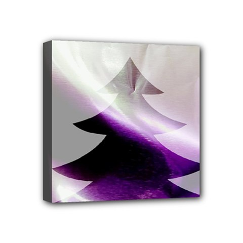 Purple Christmas Tree Mini Canvas 4  X 4  by yoursparklingshop