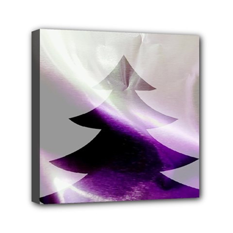 Purple Christmas Tree Mini Canvas 6  X 6  by yoursparklingshop