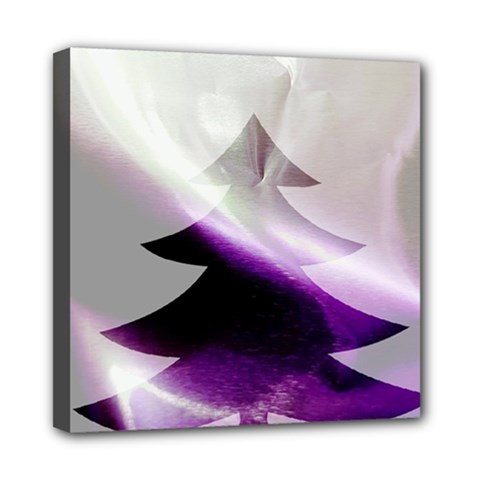 Purple Christmas Tree Mini Canvas 8  X 8  by yoursparklingshop